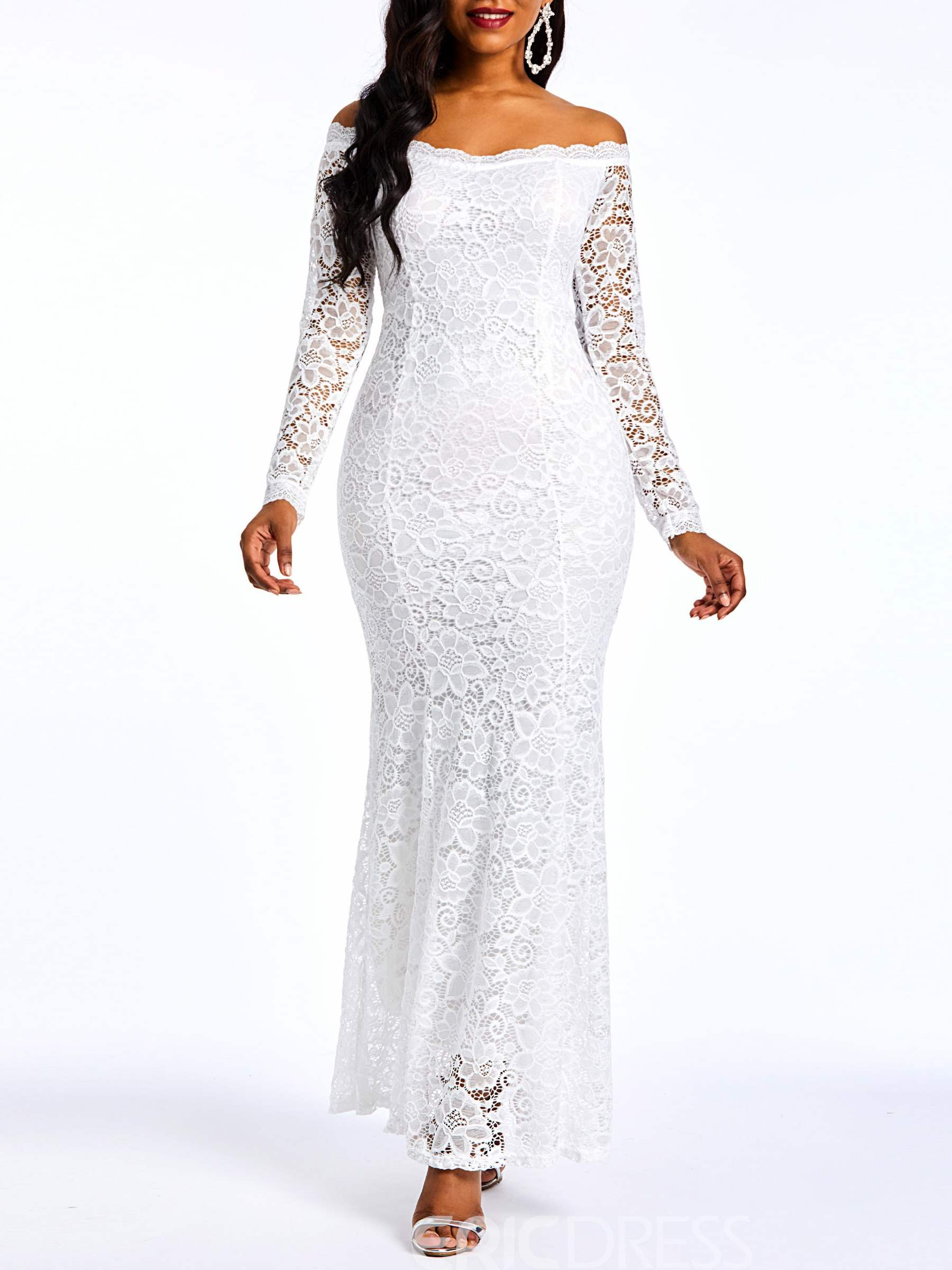 Ericdress Lace Floor-Length Off Shoulder Plain Mermaid White Dress