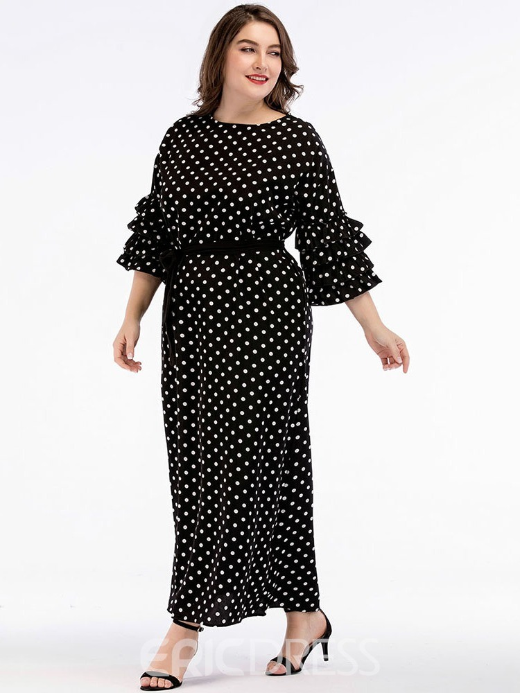 Ericdress Plus Size Polka Dots Print Ankle-Length Casual Standard-Waist Dress