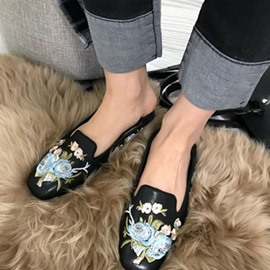 Ericdress Floral Embroidery Square Toe Block Heel Women's Flats
