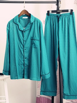 Ericdress Button Simple Long Sleeve Sleep Bottom Single-Breasted Pajamas Sets