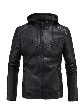 Ericdress Plain Hooded Patchwork Lace-Up Mens Leather Jacket