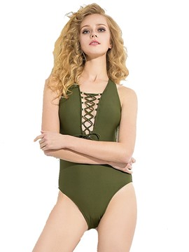 ericdress lace-up monokini sexy sans dos plaine
