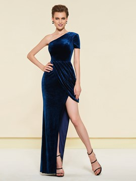 Ericdress One Shoulder Split-Front Wedding Party Dress