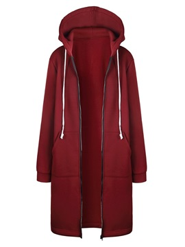 Ericdress Pocket Zipper Plain Hooded Mid-Length Hoodie