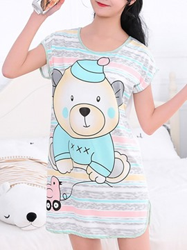 Ericdress Scoop Stripes Cartoon Above Knee Women's Nightgown