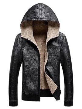 Ericdress Plain Hooded Cashmere Lining Zipper Mens Leather Jacket