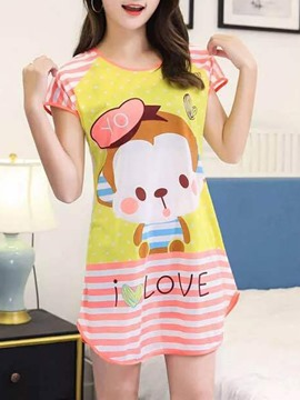 Ericdress Scoop Letter Stripes Cartoon Women's Nightgown