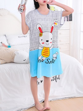 Ericdress Rabbit Cartoon Short Sleeve Women's Nightgown
