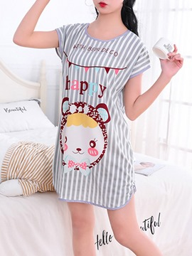 Ericdress Letter Stripes Cartoon Women's Nightgown
