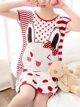 Ericdress Scoop Dots Stripes Cartoon Women's Nightgown