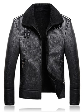 Ericdress Plain Lapel Cashmere Lining Straight Mens Leather Jacket