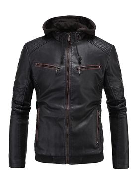 Ericdress Plain Hooded Patchwork Mens PU Leather Jacket