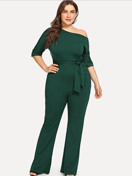 ericdress plus size schnürung schlanker hoher taille overall