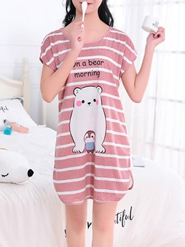 Ericdress Stripe Cartoon Short Sleeve Women's Nightgown