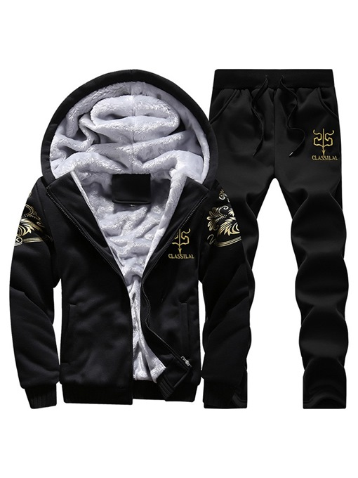 Ericdress Printed Hooded Mens Casual Winter Sports Outfit