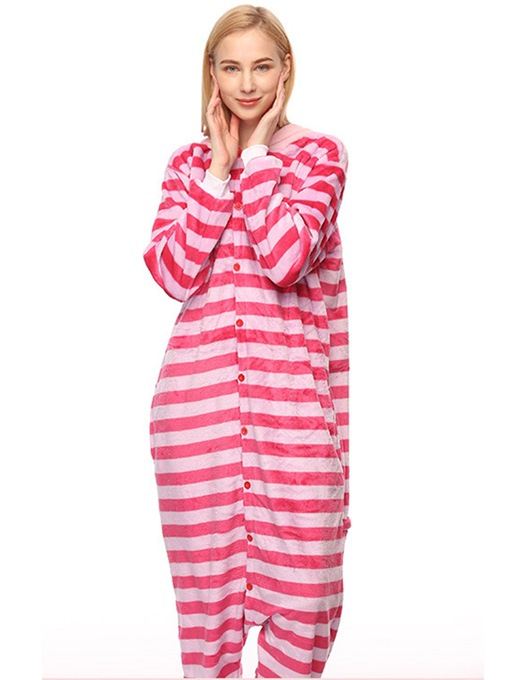 Ericdress Stripe Velvet Cheshire Cat Cartoon Animal Pajama One-Piece