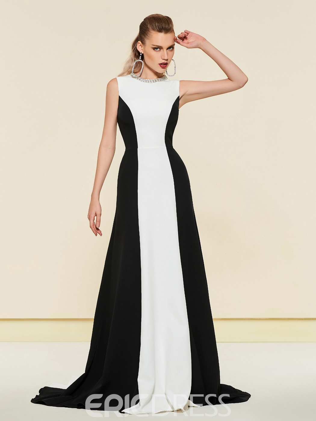 Ericdress Beading Black And White Evening Dress