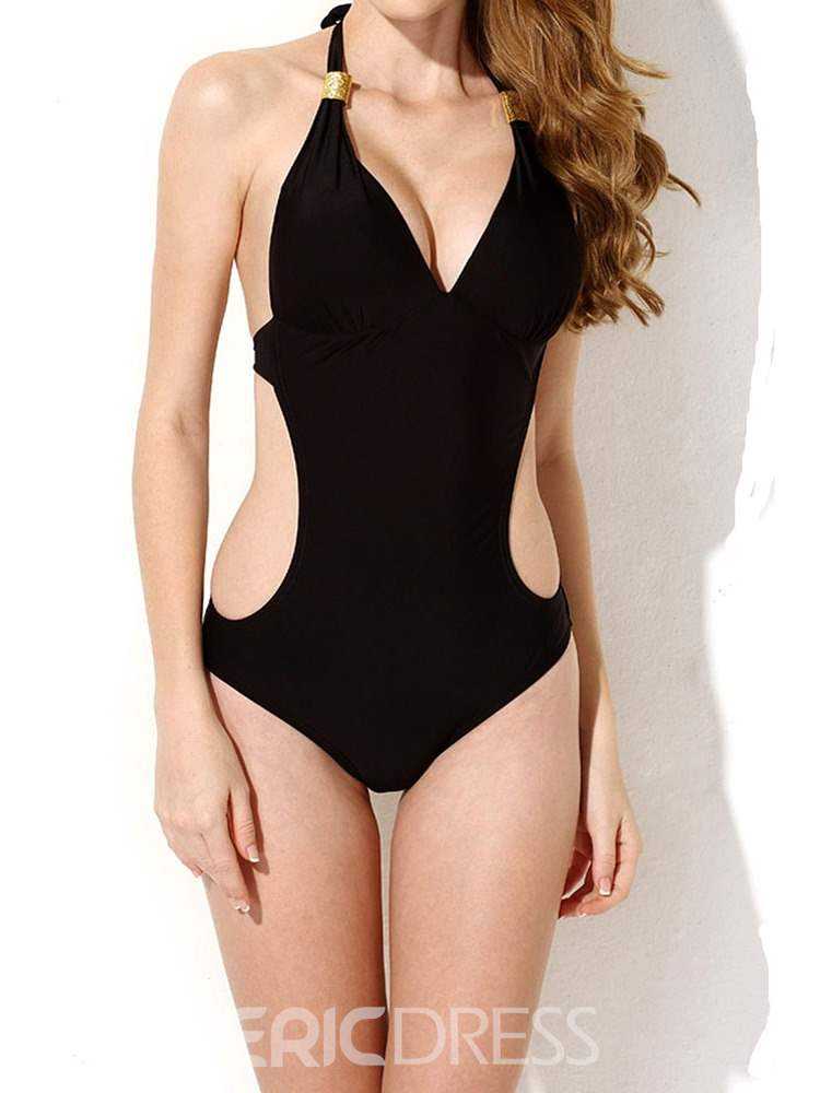 Ericdress Plain One Piece Lace-Up Monokini