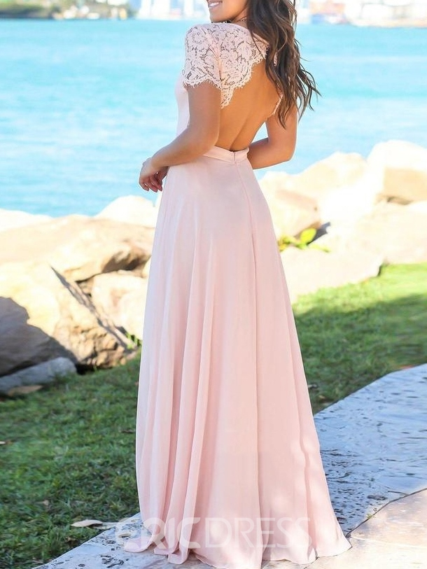 Ericdress Sweetheart A-Line Short Sleeves Lace Bridesmaid Dress 2019