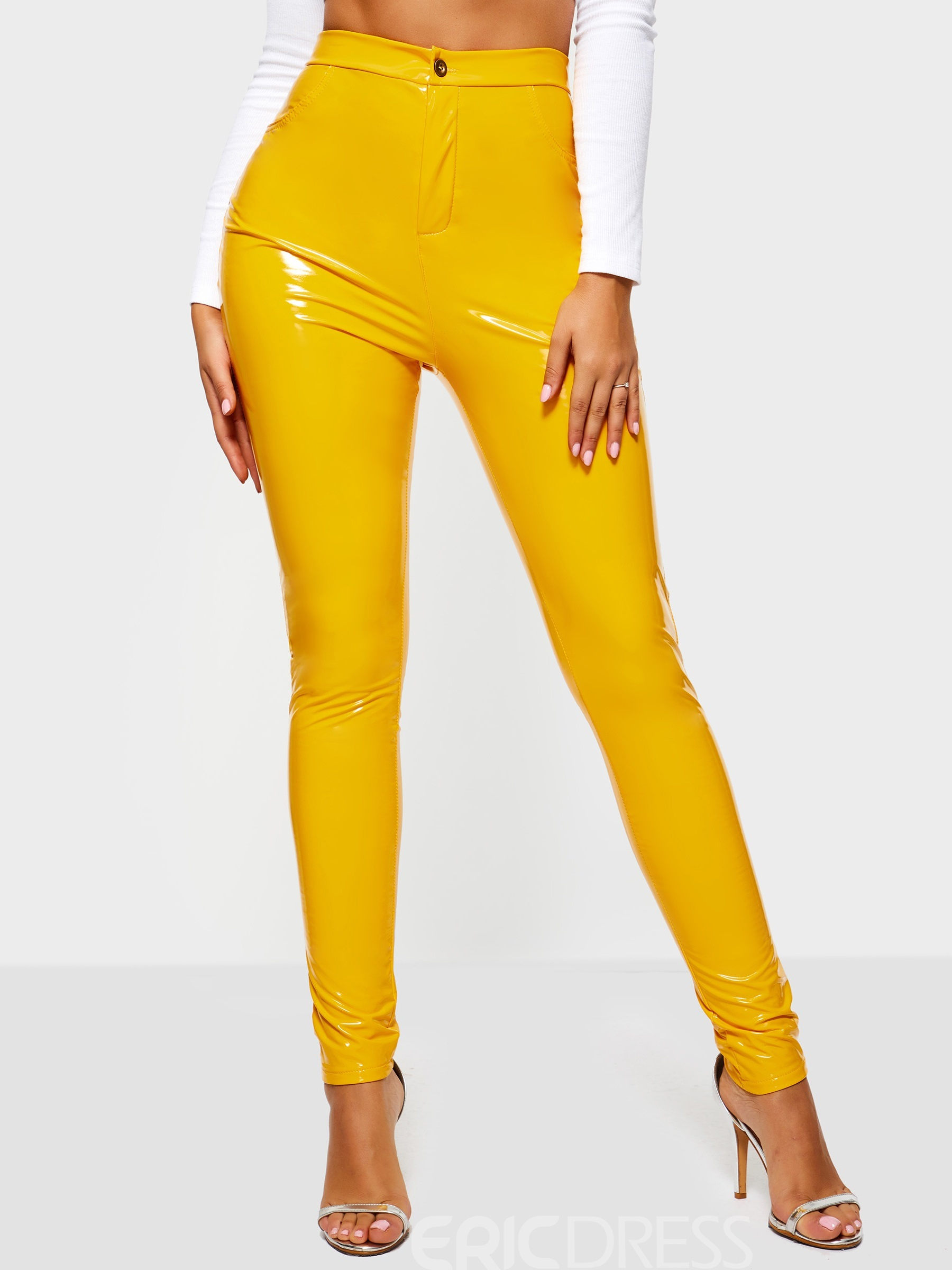 Ericdress Plain Stretchy Skinny Leather Pants