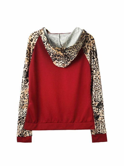 Ericdress Patchwork Regular Leopard Hooded Long Sleeve Hoodie