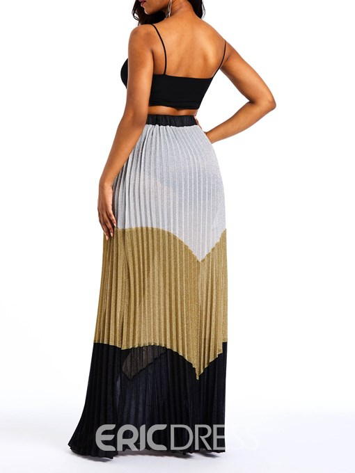 Ericdress Pleated Patchwork Color Block High-Waist Casual Skirt