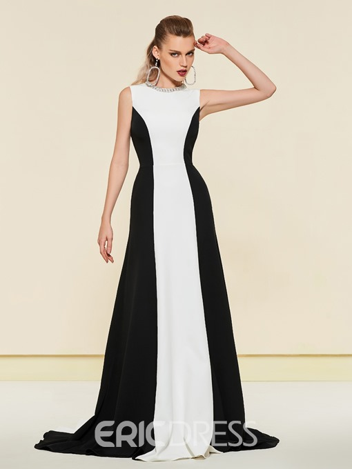 Ericdress A-Line Scoop Black And White Evening Dress 2019
