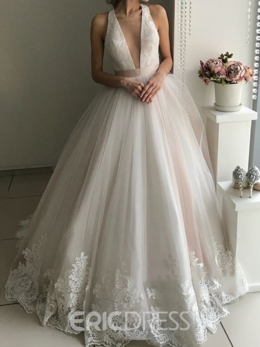 Ericdress Deep V-Neck Lace Backless Wedding Dress