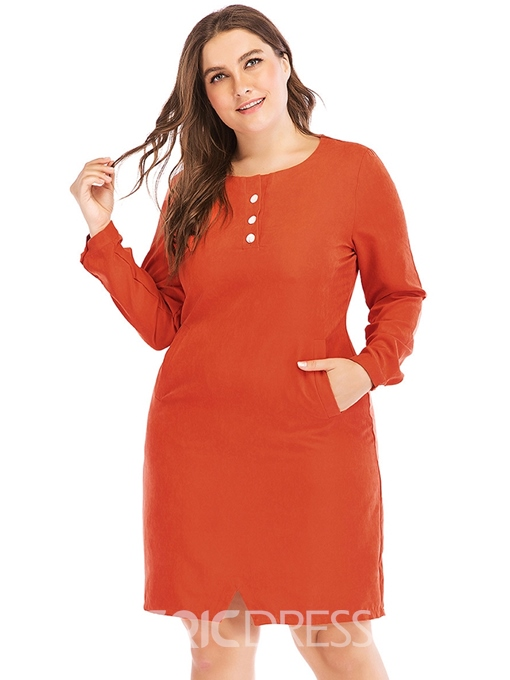 Ericdress Knee-Length Round Neck Long Sleeve Standard-Waist Date Night Plus Size Dress