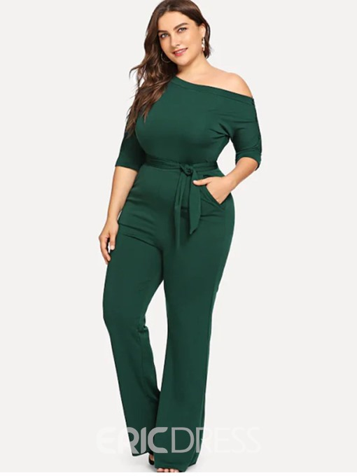 Ericdress Plus Size Lace-Up Plain Slim High Waist Jumpsuit