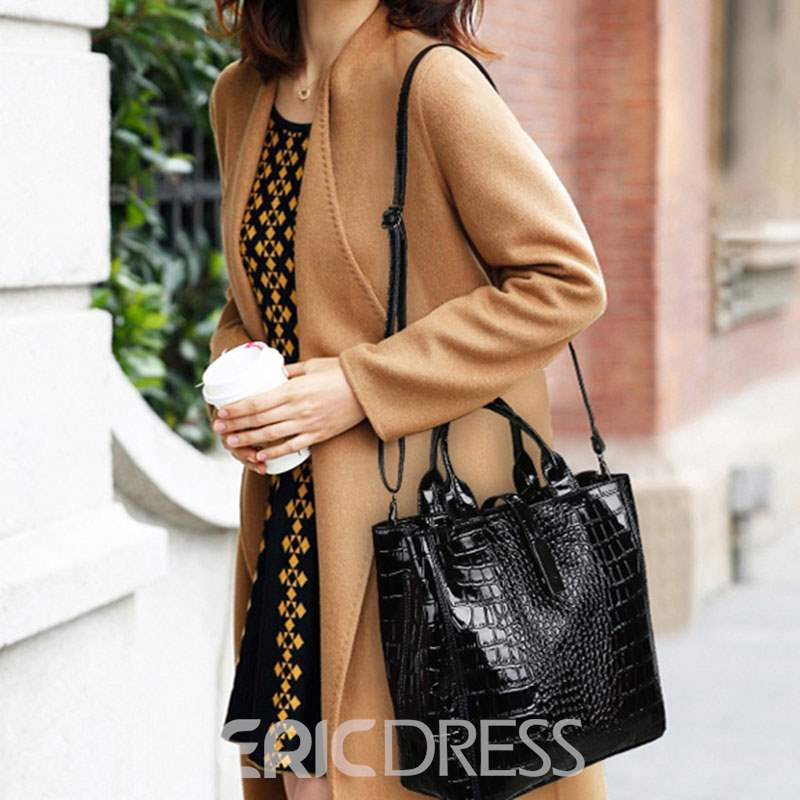 Ericdress PU Thread Alligator Barrel-Shaped Tote Bags