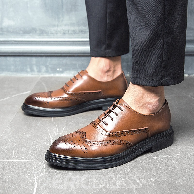 Ericdress PU Round Toe Lace-Up Men's Shoes