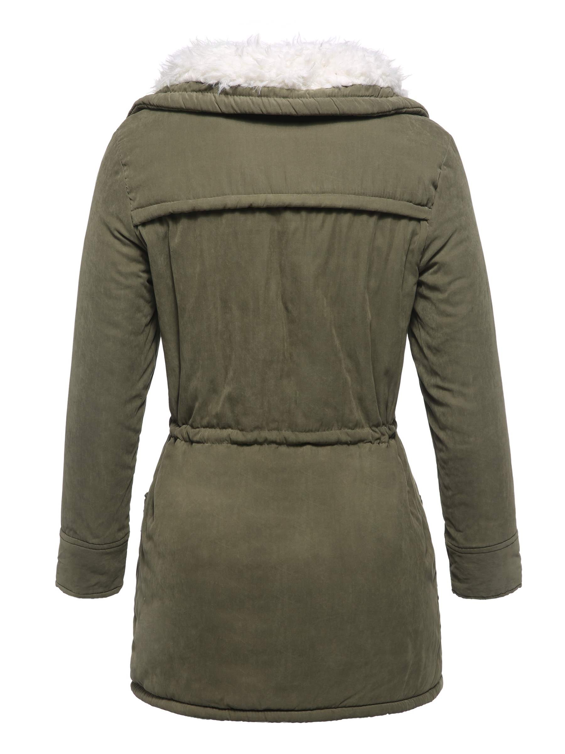 Ericdress Single-Breasted Pocket Straight Mid-Length Cotton Padded Jacket