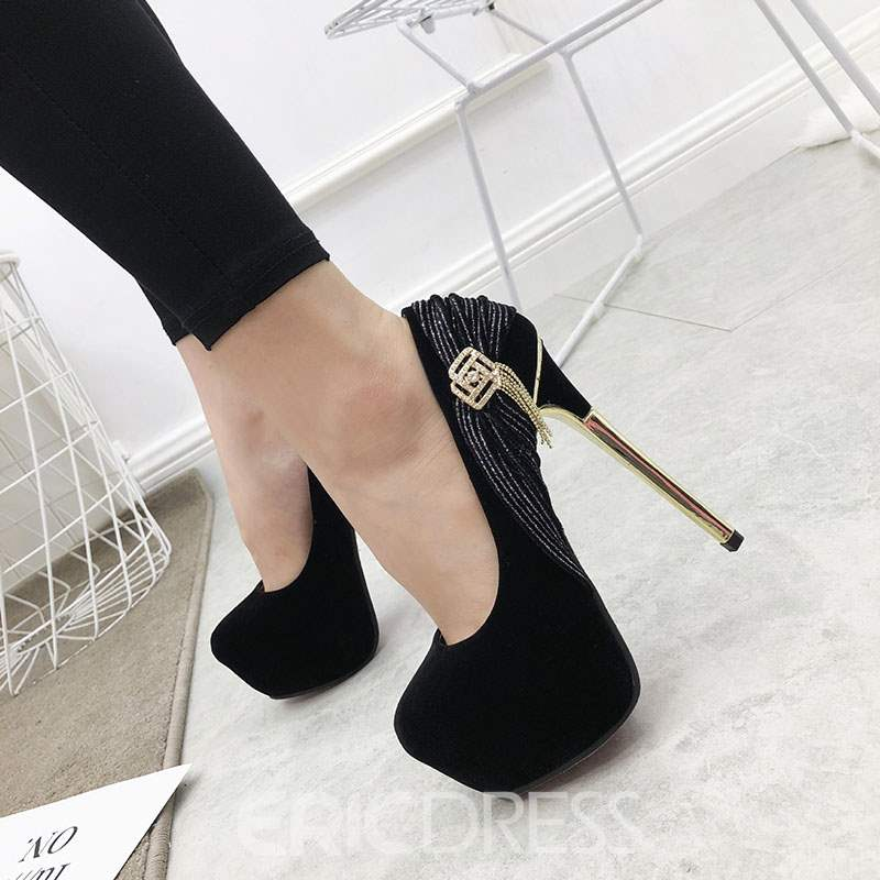Ericdress Rhinestone Round Toe Stiletto Heel Women's Pumps