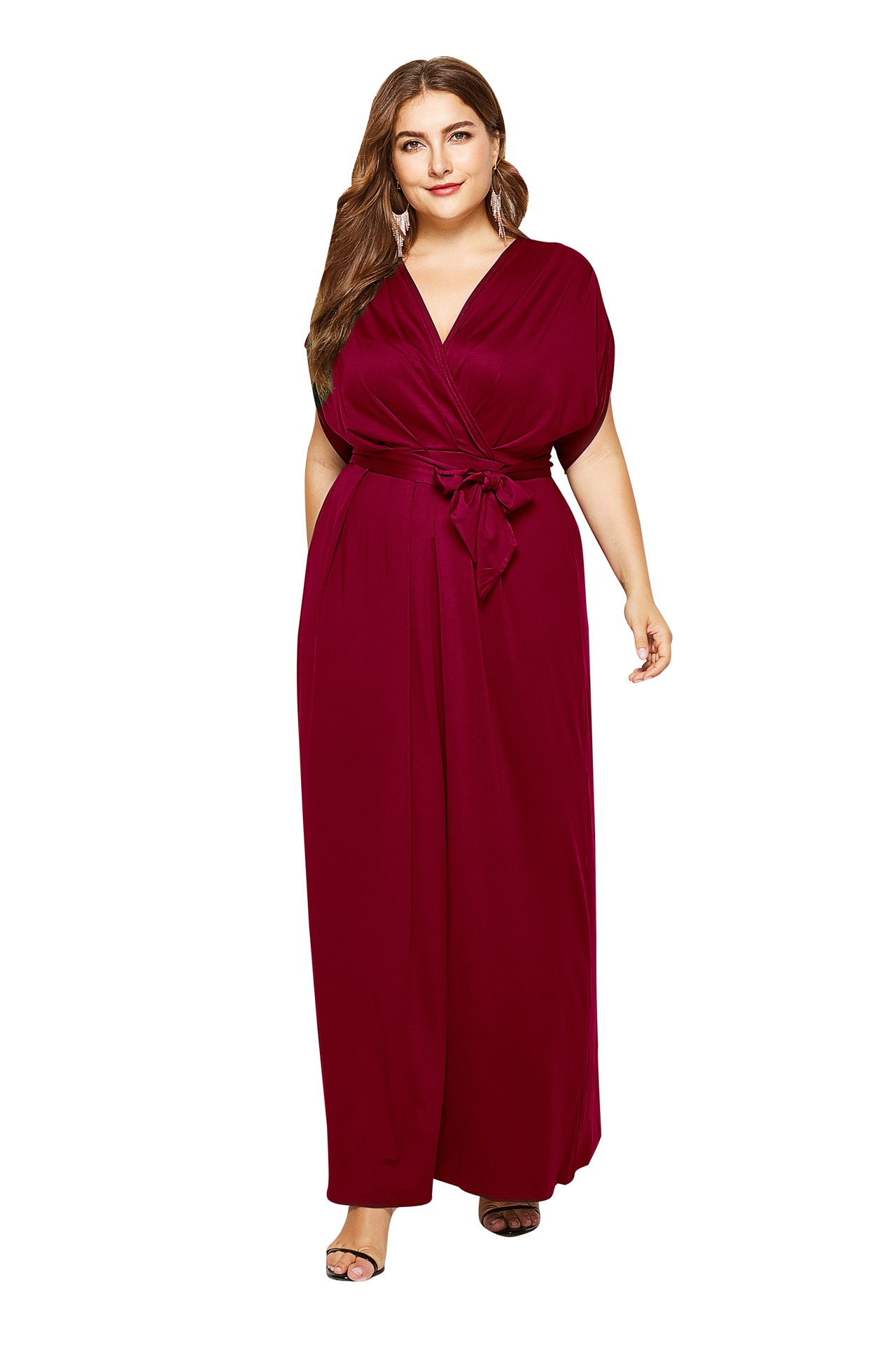 Ericdress Short Sleeve Ankle-Length V-Neck Casual Pullover Plusee Dress