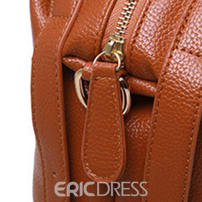 Ericdress Thread PU Plain Barrel-Shaped Soft Tote Bags