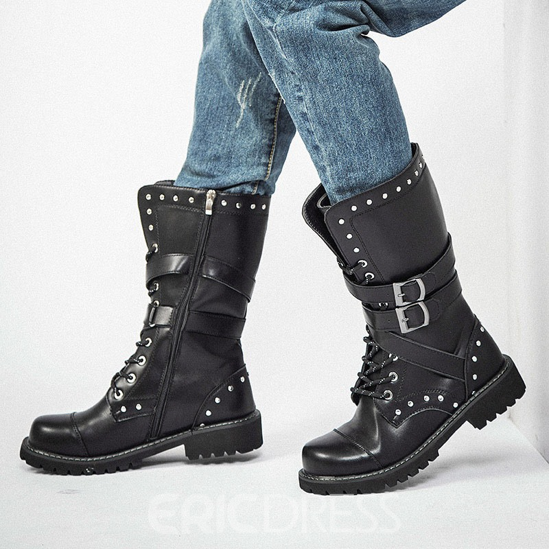 Ericdress Rivet Round Toe Side Zipper Men's Boots