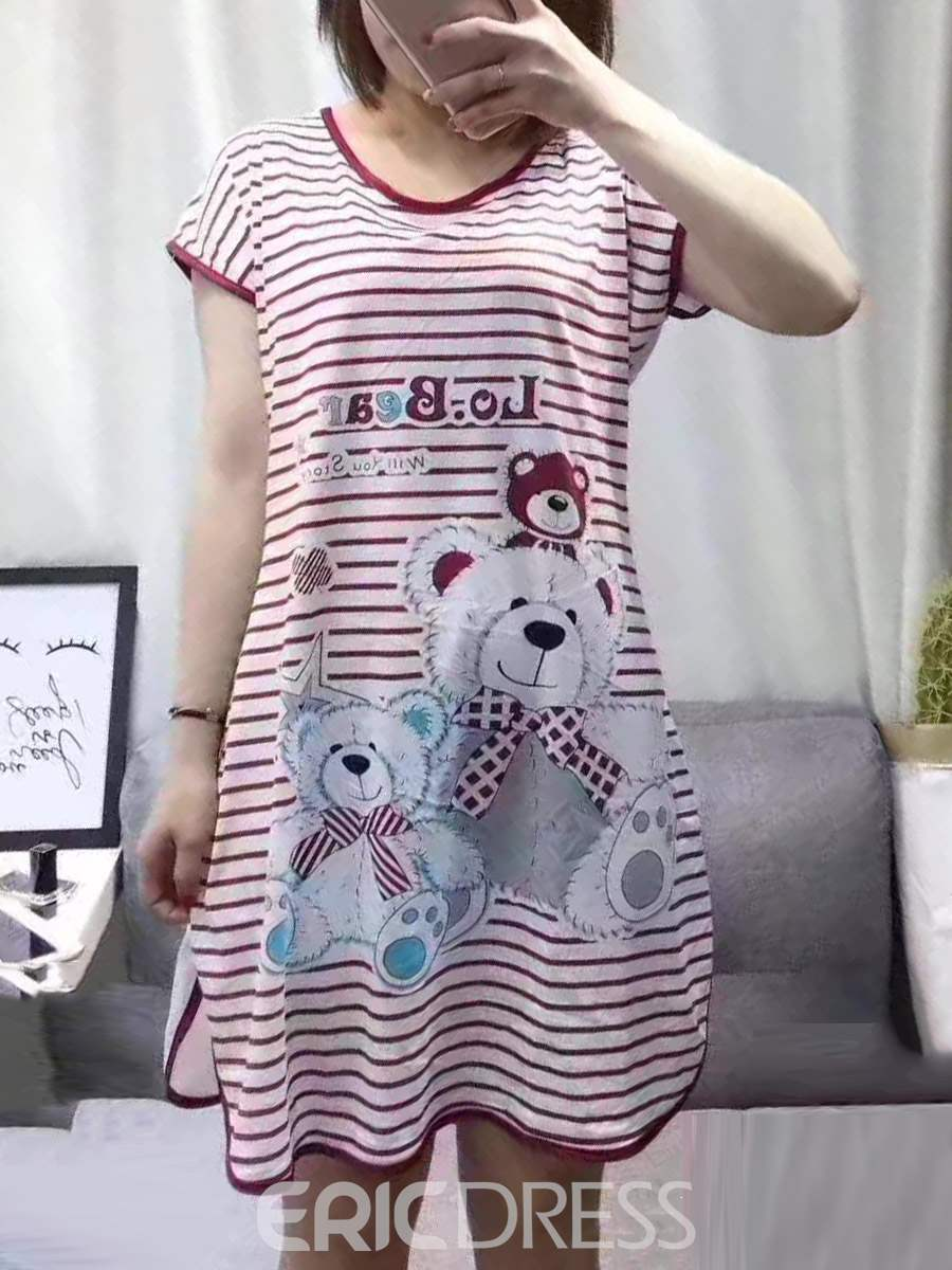 Ericdress Stripe Cartoon Above Knee Women's Nightgown