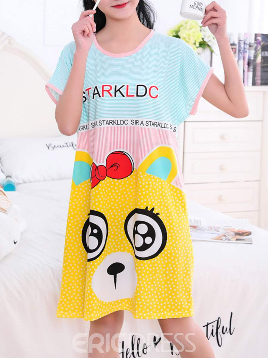 Ericdress Cartoon Letter Short Sleeve Women's Nightgown