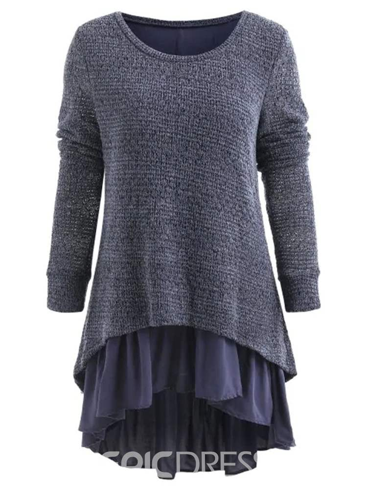 Ericdress Patchwork Long Sleeve Mid-Length Sweater