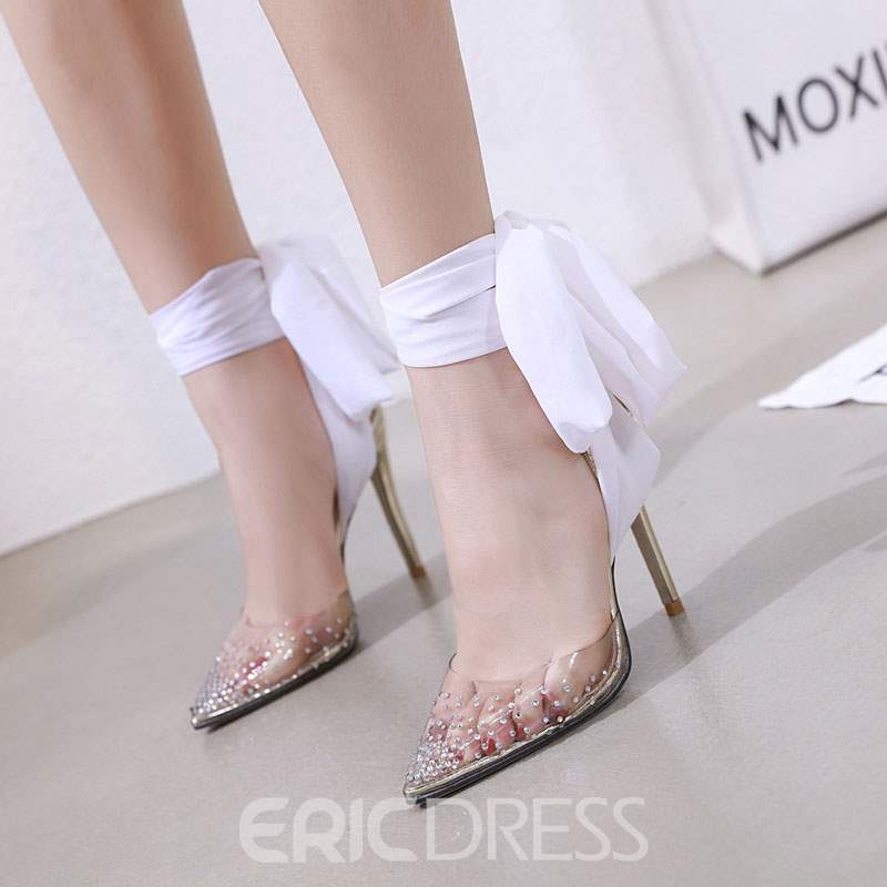 Ericdress PVC Ankle Strap Lace-Up Stiletto Heel Sandals