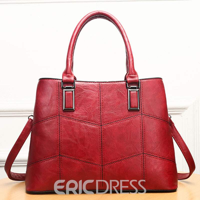 Ericdress Quilted Lining PU Plaid Square Tote Bags