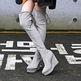 Ericdress Lace-Up Back Wedge Heel Round Toe Women's Knee High Boots