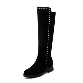 Ericdress Rivet Side Zipper Round Toe Women's Knee High Boots