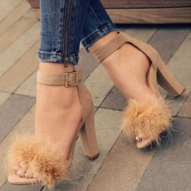 Ericdress Faux Fur Heel Covering Chunky Heel Women's Sandals