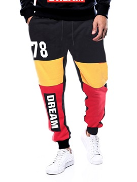 Ericdress Letter Printed Patchwork Mens Casual Sports Pants