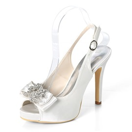 Ericdress Rhinestone Peep Toe Slingback Strap Wedding Shoes