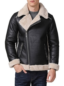 Ericdress Plain Lapel Cashmere Lining Mens Casual Leather Jacket