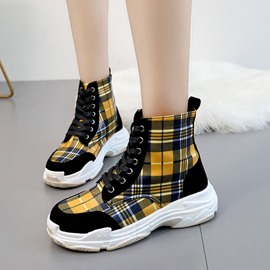 Ericdress Plaid Lace-Up Front Round Toe Women's Winter Sneakers