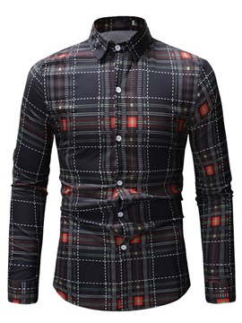 Ericdress Plaid Lapel Button Up Mens Casual Single-Breasted Shirt